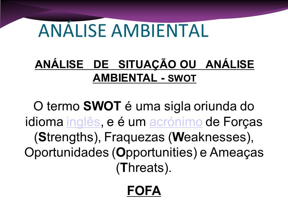 ANÁLISE AMBIENTAL ANÁLISE DE SITUAÇÃO OU ANÁLISE AMBIENTAL - SWOT O termo SWOT é uma sigla oriunda do idioma inglês, e é um acrónimo de Forças (Streng