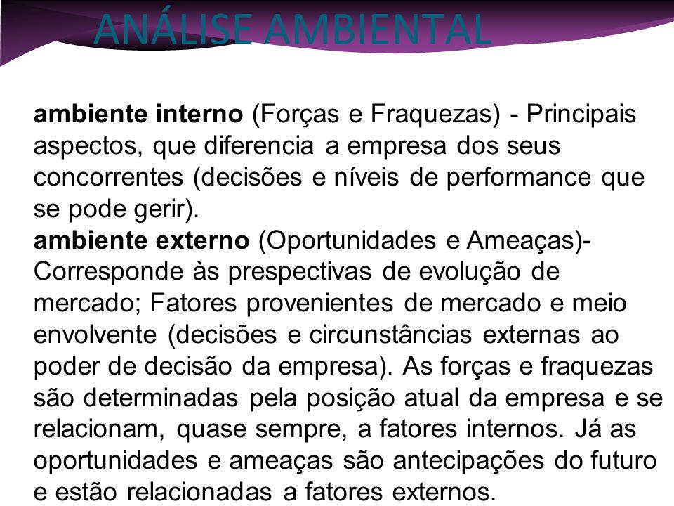 ANÁLISE AMBIENTAL ANÁLISE DE SITUAÇÃO OU AMBIENTAL ambiente interno (Forças e Fraquezas) - Principais aspectos, que diferencia a empresa dos seus conc