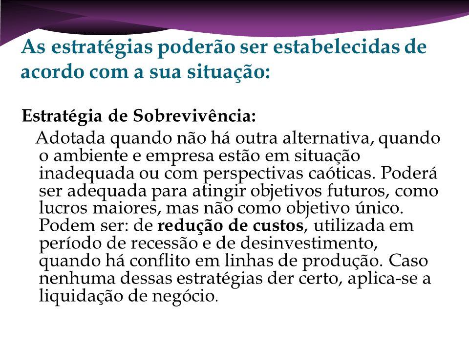 As estratégias poderão ser estabelecidas de acordo com a sua situação: Estratégia de Sobrevivência: Adotada quando não há outra alternativa, quando o
