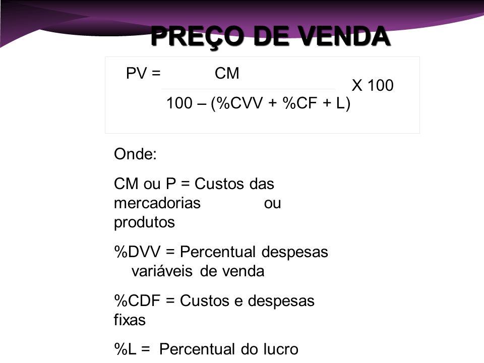 PREÇO DE VENDA PV = CM 100 – (%CVV + %CF + L) X 100 Onde: CM ou P = Custos das mercadorias ou produtos %DVV = Percentual despesas variáveis de venda %