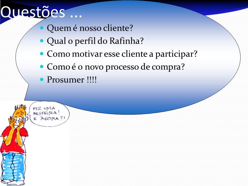 Questões... Quem é nosso cliente? Qual o perfil do Rafinha? Como motivar esse cliente a participar? Como é o novo processo de compra? Prosumer !!!!