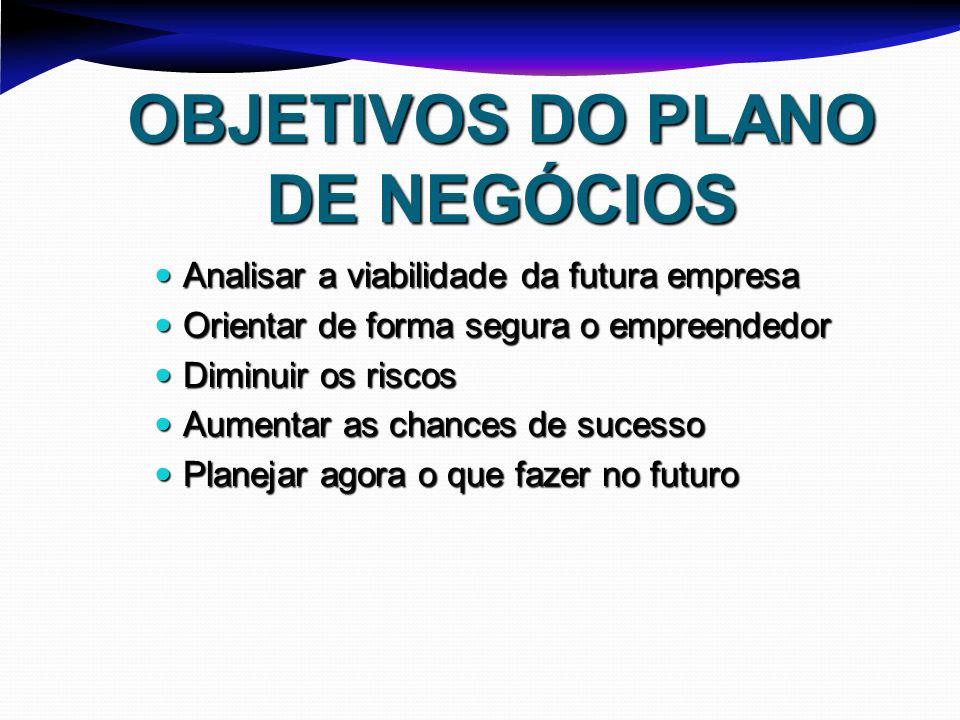 OBJETIVOS DO PLANO DE NEGÓCIOS Analisar a viabilidade da futura empresa Analisar a viabilidade da futura empresa Orientar de forma segura o empreended