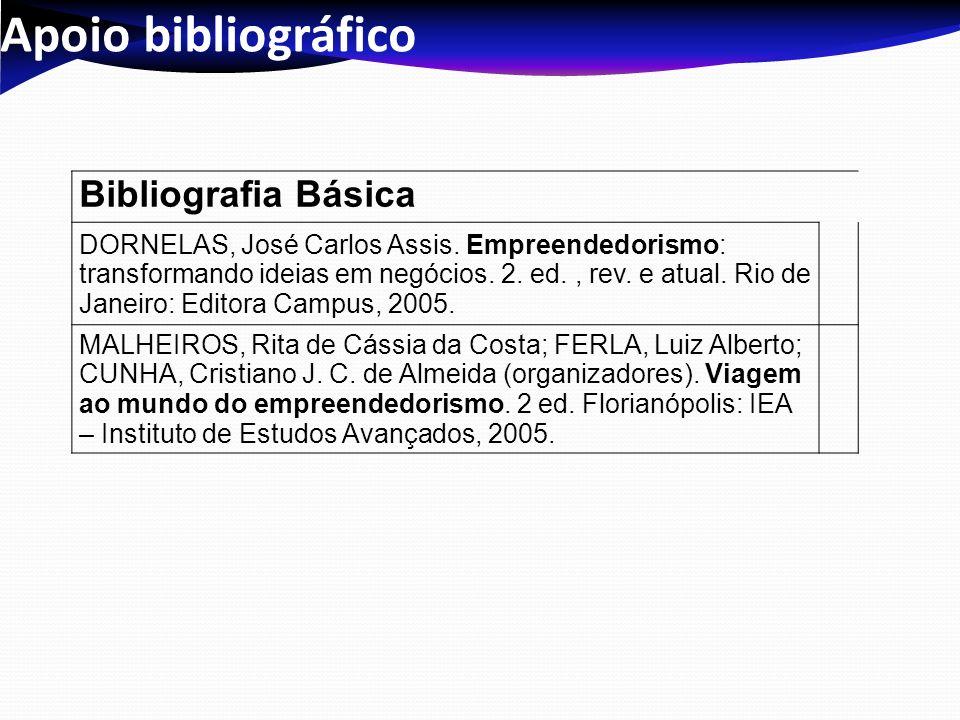 Apoio bibliográfico Bibliografia Básica DORNELAS, José Carlos Assis. Empreendedorismo: transformando ideias em negócios. 2. ed., rev. e atual. Rio de