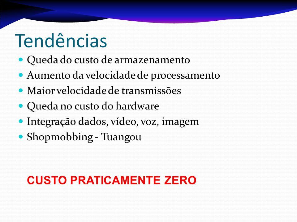 Tendências Queda do custo de armazenamento Aumento da velocidade de processamento Maior velocidade de transmissões Queda no custo do hardware Integraç