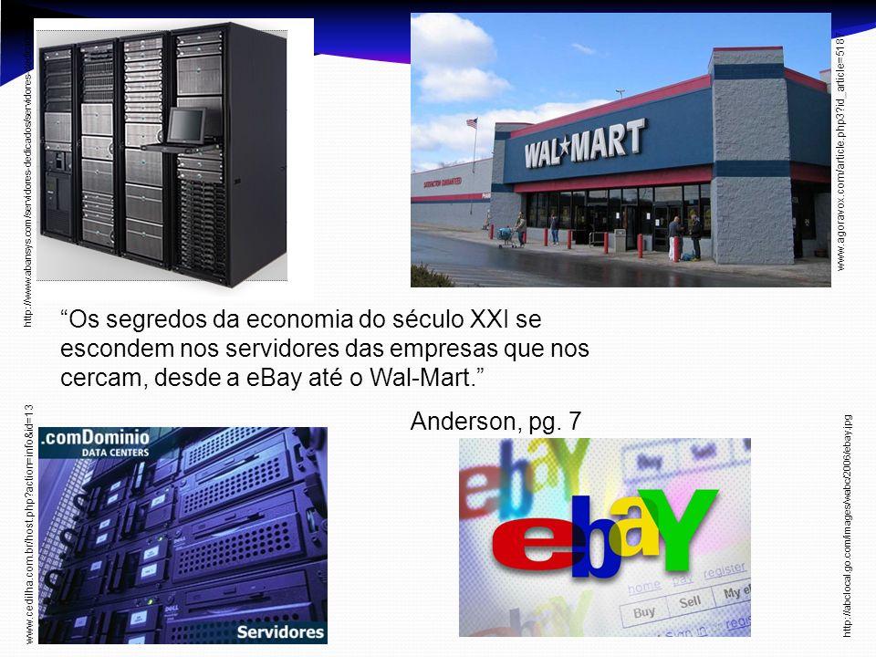 Os segredos da economia do século XXI se escondem nos servidores das empresas que nos cercam, desde a eBay até o Wal-Mart. Anderson, pg. 7 http://www.