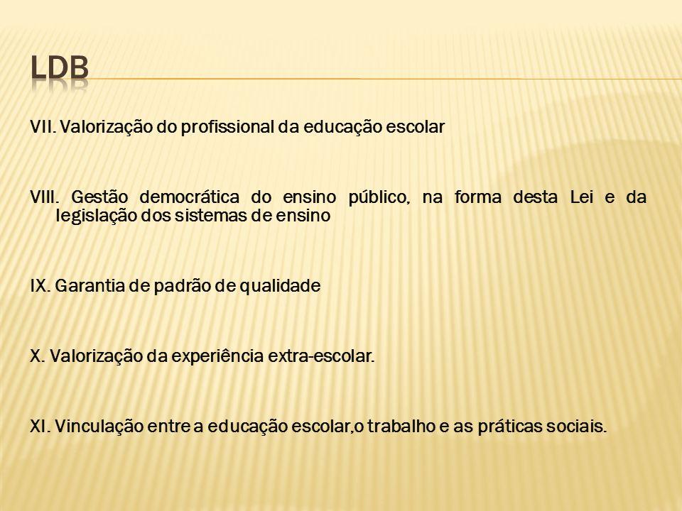 VII. Valorização do profissional da educação escolar VIII. Gestão democrática do ensino público, na forma desta Lei e da legislação dos sistemas de en