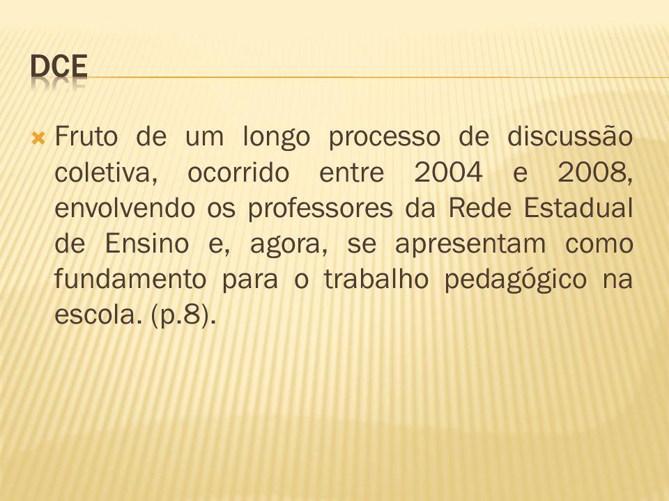 Fruto de um longo processo de discussão coletiva, ocorrido entre 2004 e 2008, envolvendo os professores da Rede Estadual de Ensino e, agora, se aprese