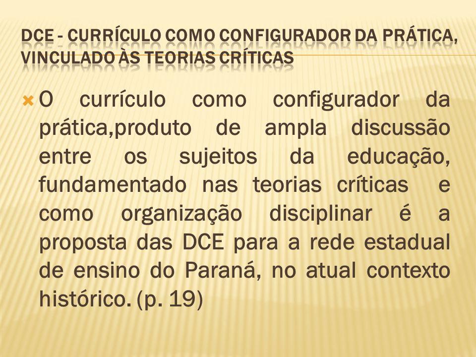 O currículo como configurador da prática,produto de ampla discussão entre os sujeitos da educação, fundamentado nas teorias críticas e como organizaçã