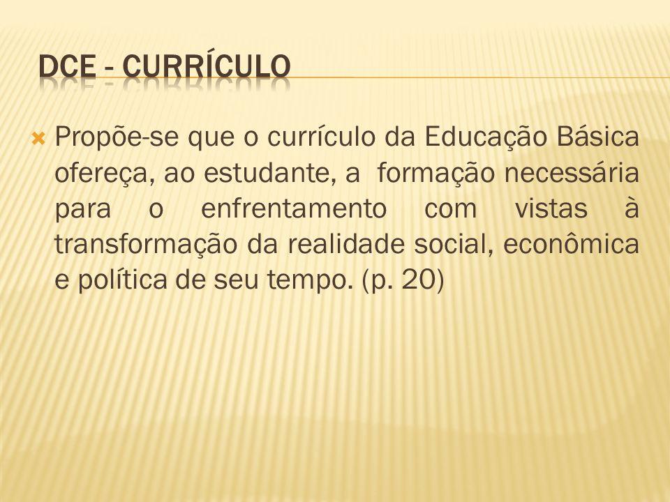 Propõe-se que o currículo da Educação Básica ofereça, ao estudante, a formação necessária para o enfrentamento com vistas à transformação da realidade