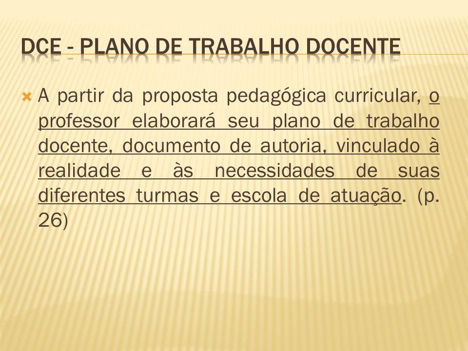 A partir da proposta pedagógica curricular, o professor elaborará seu plano de trabalho docente, documento de autoria, vinculado à realidade e às nece