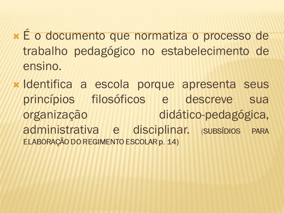 É o documento que normatiza o processo de trabalho pedagógico no estabelecimento de ensino. Identifica a escola porque apresenta seus princípios filos