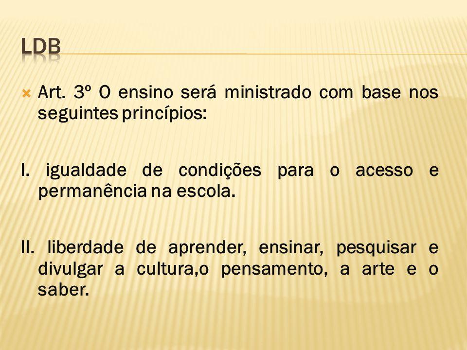 Art. 3º O ensino será ministrado com base nos seguintes princípios: I. igualdade de condições para o acesso e permanência na escola. II. liberdade de