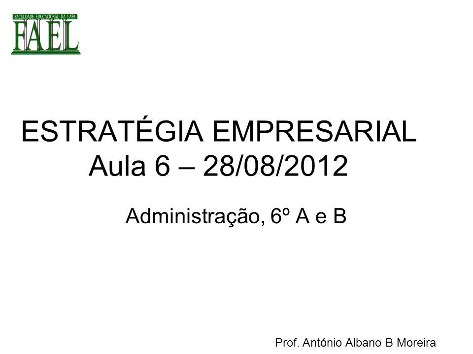 Aula 6 – 28/08/2012 Estabelecimento de Diretrizes Organizacionais –Missão –Visão –Objetivos estratégicos Fechamento exercício