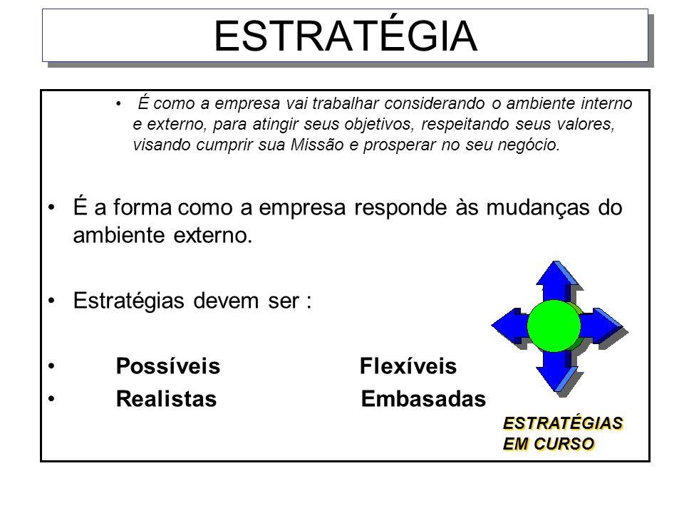 ESTRATÉGIA É como a empresa vai trabalhar considerando o ambiente interno e externo, para atingir seus objetivos, respeitando seus valores, visando cu