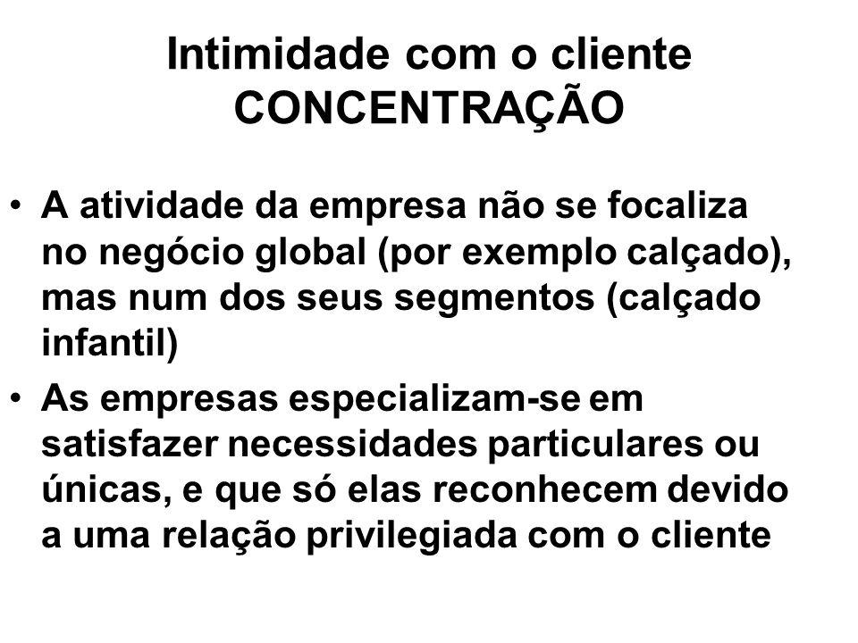 Intimidade com o cliente CONCENTRAÇÃO A atividade da empresa não se focaliza no negócio global (por exemplo calçado), mas num dos seus segmentos (calç