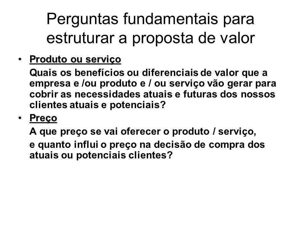 Perguntas fundamentais para estruturar a proposta de valor Produto ou serviçoProduto ou serviço Quais os benefícios ou diferenciais de valor que a emp