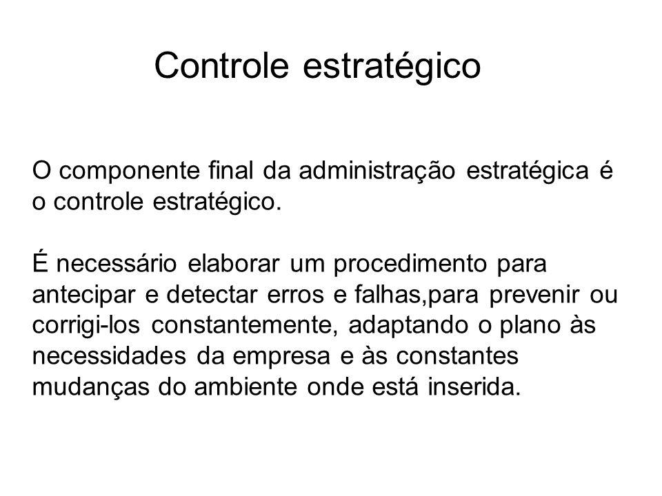 Controle estratégico O componente final da administração estratégica é o controle estratégico. É necessário elaborar um procedimento para antecipar e