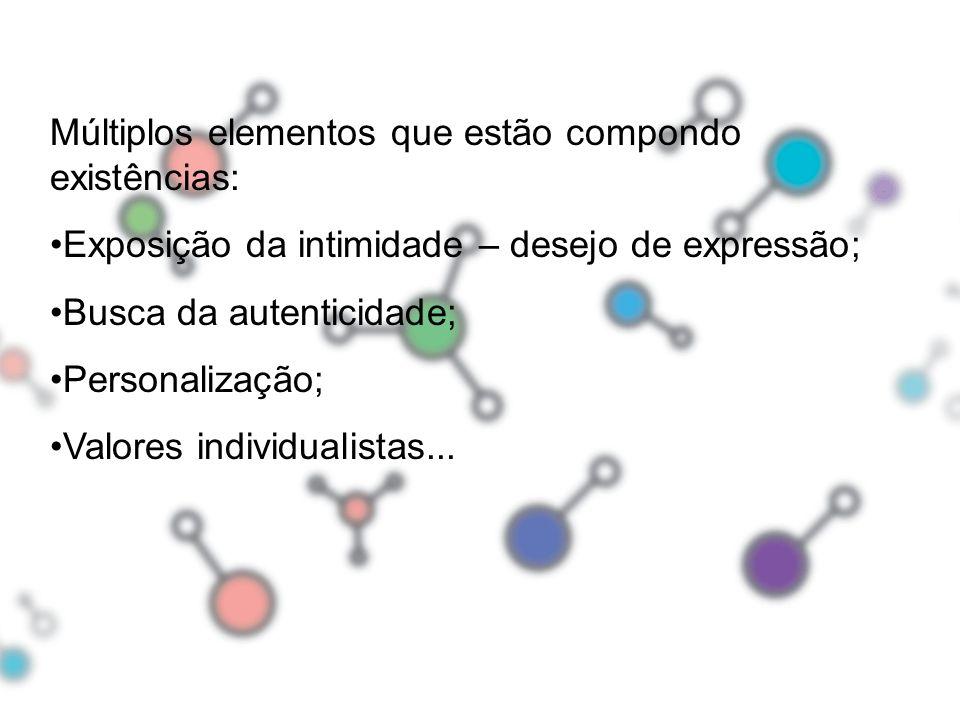 Múltiplos elementos que estão compondo existências: Exposição da intimidade – desejo de expressão; Busca da autenticidade; Personalização; Valores ind
