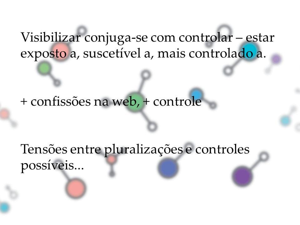 Visibilizar conjuga-se com controlar – estar exposto a, suscetível a, mais controlado a. + confissões na web, + controle Tensões entre pluralizações e
