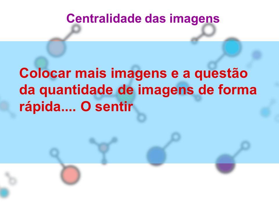 Centralidade das imagens Colocar mais imagens e a questão da quantidade de imagens de forma rápida.... O sentir