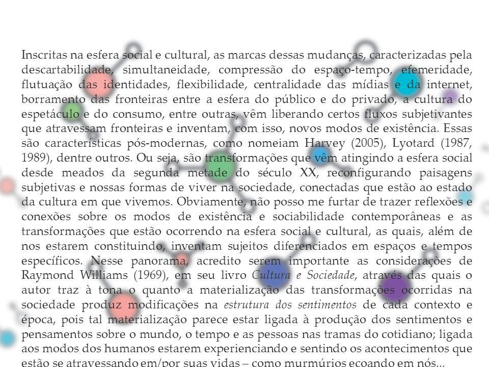 Inscritas na esfera social e cultural, as marcas dessas mudanças, caracterizadas pela descartabilidade, simultaneidade, compressão do espaço-tempo, ef