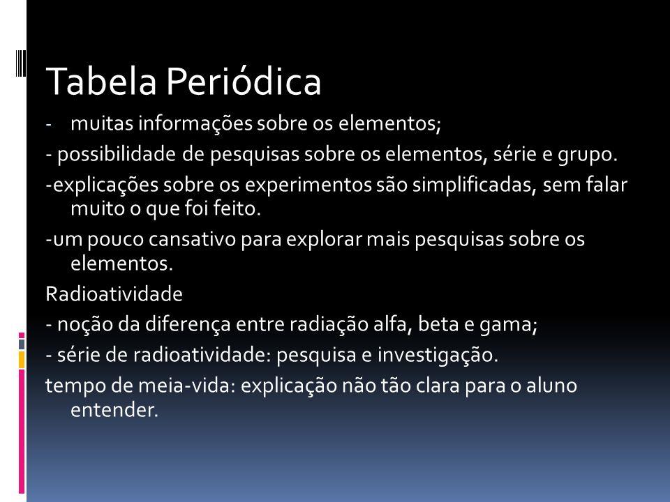 Tabela Periódica - muitas informações sobre os elementos; - possibilidade de pesquisas sobre os elementos, série e grupo. -explicações sobre os experi