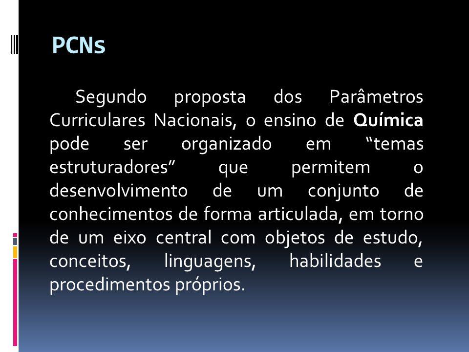 PCNs Segundo proposta dos Parâmetros Curriculares Nacionais, o ensino de Química pode ser organizado em temas estruturadores que permitem o desenvolvi