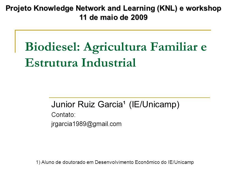 Biodiesel: Agricultura Familiar e Estrutura Industrial Junior Ruiz Garcia¹ (IE/Unicamp) Contato: jrgarcia1989@gmail.com Projeto Knowledge Network and