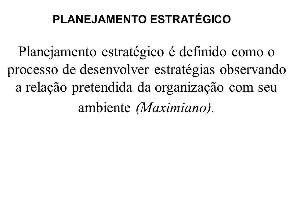 Planejamento estratégico é definido como o processo de desenvolver estratégias observando a relação pretendida da organização com seu ambiente (Maximi