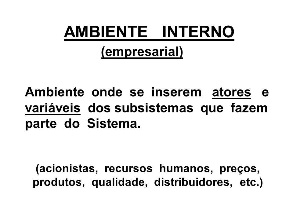 AMBIENTE INTERNO (empresarial) Ambiente onde se inserem atores e variáveis dos subsistemas que fazem parte do Sistema. (acionistas, recursos humanos,