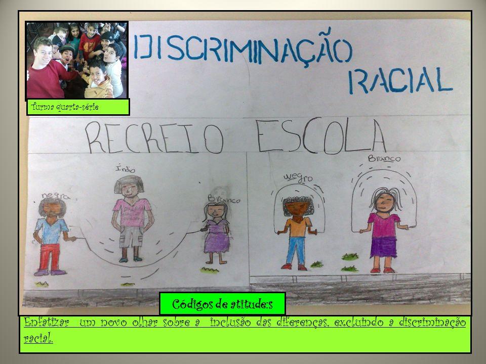Enfatizar um novo olhar sobre a inclusão das diferenças, excluindo a discriminação racial.... Turma quarta-série Códigos de atitude:s