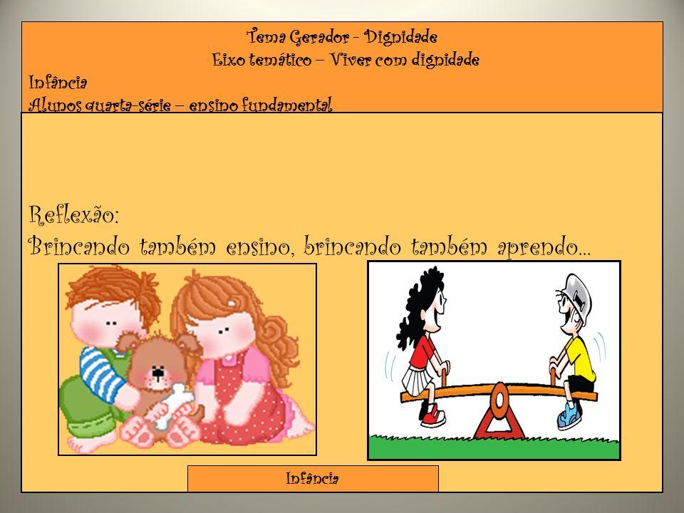 Tema Gerador - Dignidade Eixo temático – Viver com dignidade Infância Alunos quarta-série – ensino fundamental Reflexão: Brincando também ensino, brin