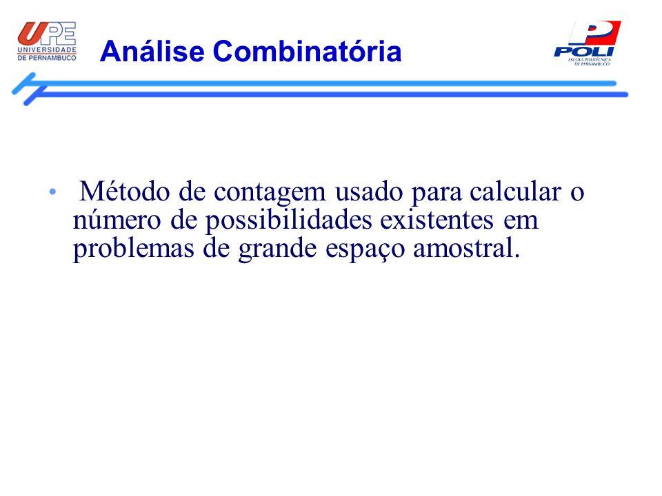 Análise Combinatória Método de contagem usado para calcular o número de possibilidades existentes em problemas de grande espaço amostral.