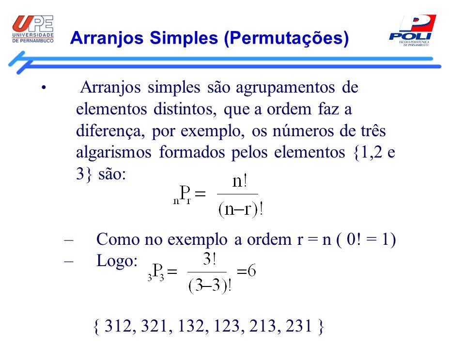 Arranjos Simples (Permutações) Arranjos simples são agrupamentos de elementos distintos, que a ordem faz a diferença, por exemplo, os números de três
