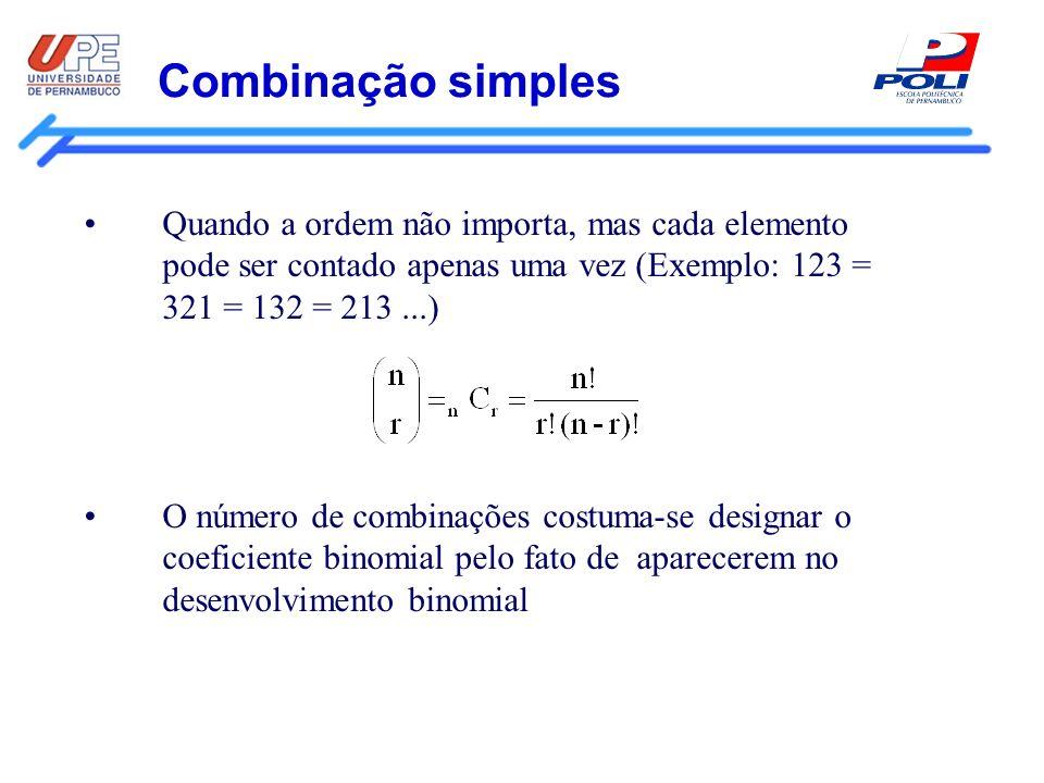 Combinação simples Quando a ordem não importa, mas cada elemento pode ser contado apenas uma vez (Exemplo: 123 = 321 = 132 = 213...) O número de combi