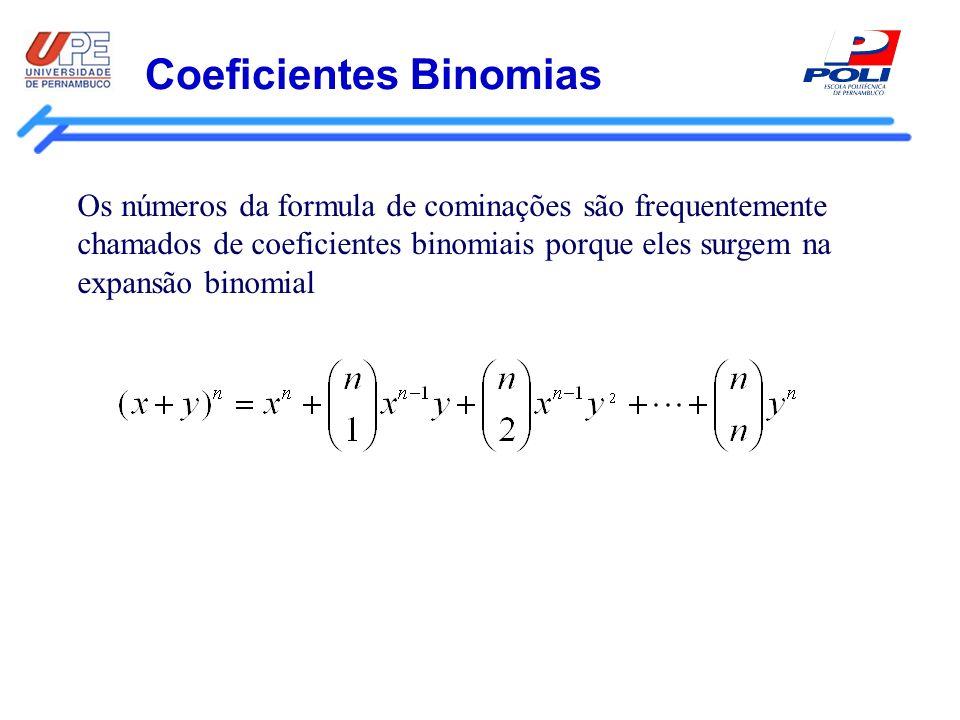 Coeficientes Binomias Os números da formula de cominações são frequentemente chamados de coeficientes binomiais porque eles surgem na expansão binomia