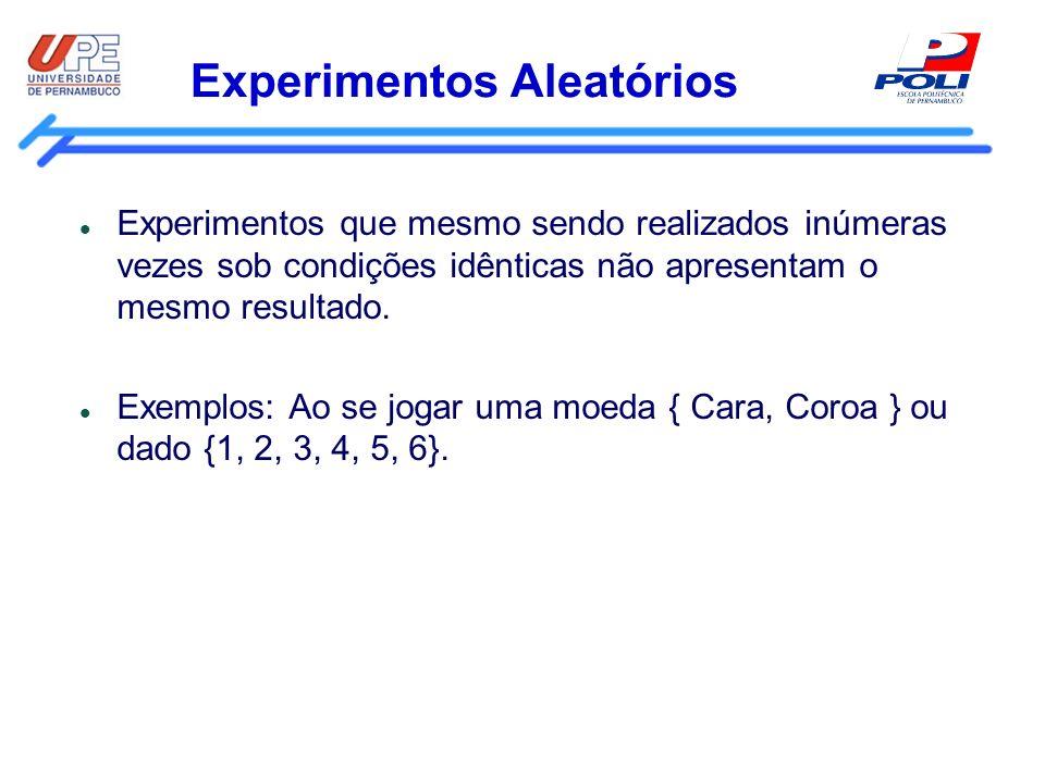 Experimentos Aleatórios Experimentos que mesmo sendo realizados inúmeras vezes sob condições idênticas não apresentam o mesmo resultado. Exemplos: Ao