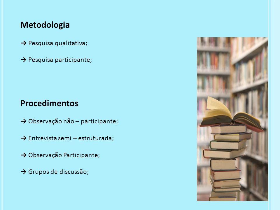 Metodologia Pesquisa qualitativa; Pesquisa participante; Procedimentos Observação não – participante; Entrevista semi – estruturada; Observação Partic