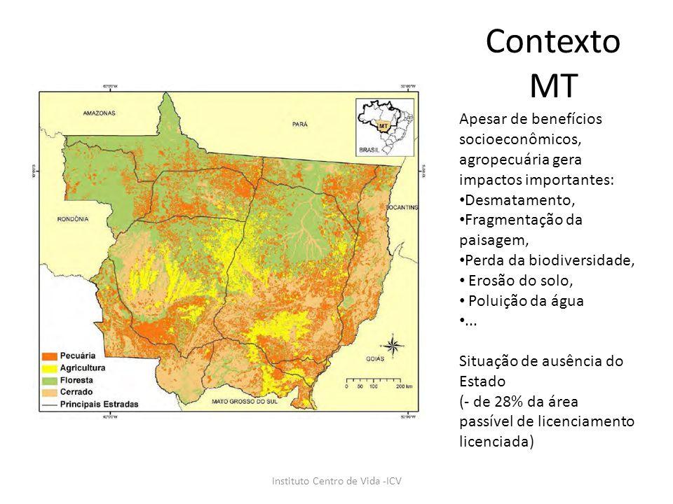 Contexto MT Instituto Centro de Vida -ICV Apesar de benefícios socioeconômicos, agropecuária gera impactos importantes: Desmatamento, Fragmentação da