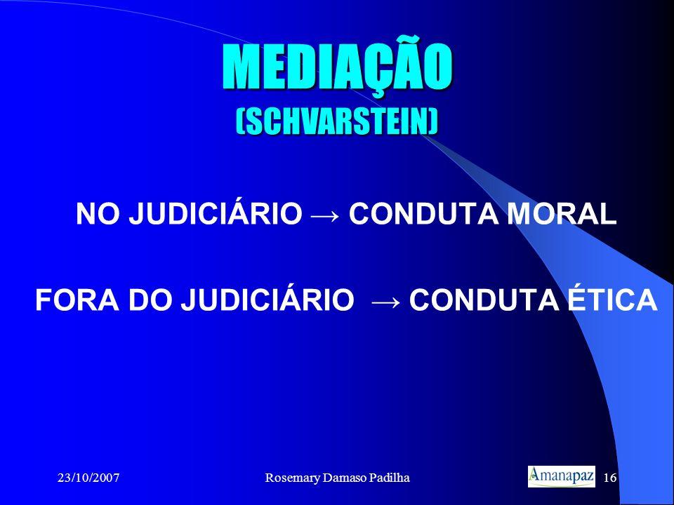23/10/2007Rosemary Damaso Padilha16 MEDIAÇÃO (SCHVARSTEIN) NO JUDICIÁRIO CONDUTA MORAL FORA DO JUDICIÁRIO CONDUTA ÉTICA