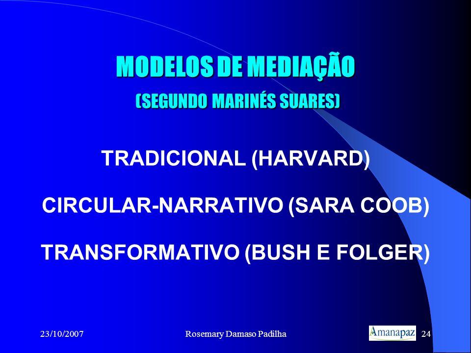 23/10/2007Rosemary Damaso Padilha24 MODELOS DE MEDIAÇÃO (SEGUNDO MARINÉS SUARES) TRADICIONAL (HARVARD) CIRCULAR-NARRATIVO (SARA COOB) TRANSFORMATIVO (