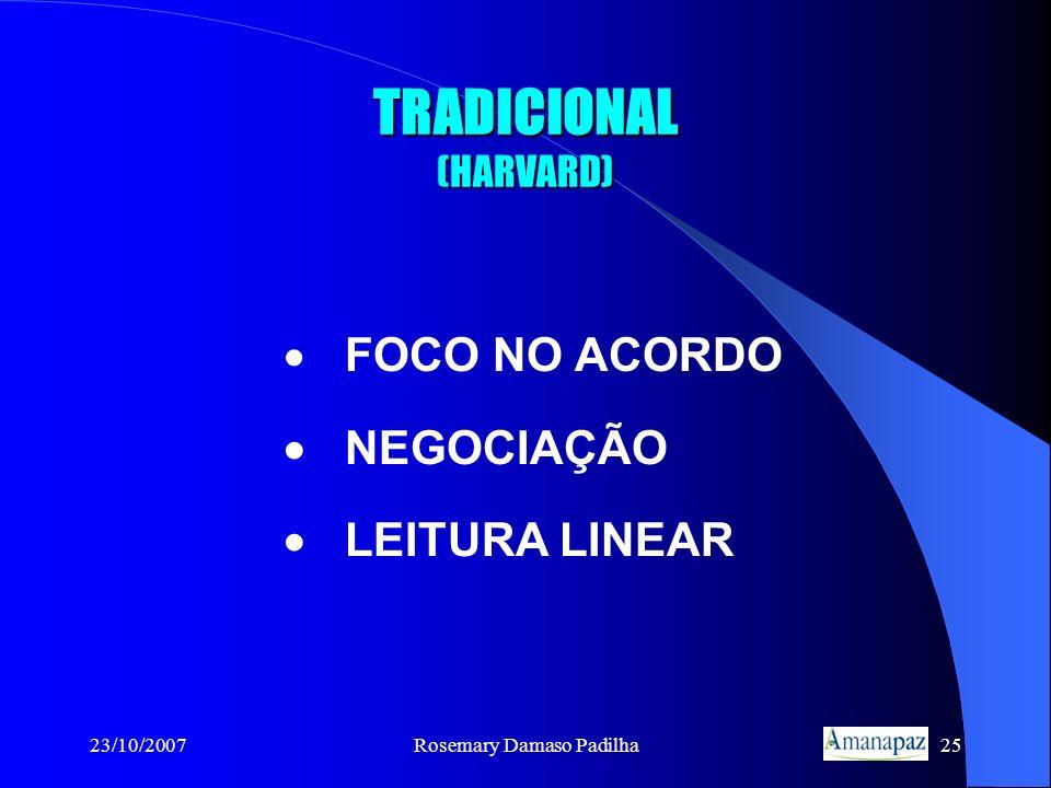 23/10/2007Rosemary Damaso Padilha25 TRADICIONAL (HARVARD) FOCO NO ACORDO NEGOCIAÇÃO LEITURA LINEAR
