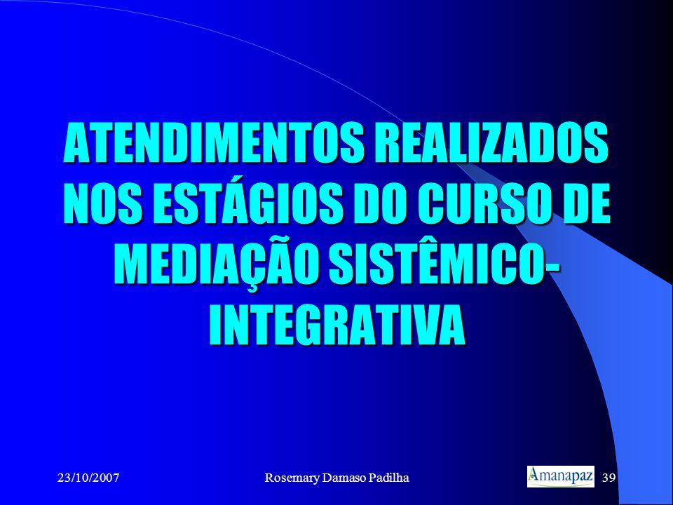 23/10/2007Rosemary Damaso Padilha39 ATENDIMENTOS REALIZADOS NOS ESTÁGIOS DO CURSO DE MEDIAÇÃO SISTÊMICO- INTEGRATIVA