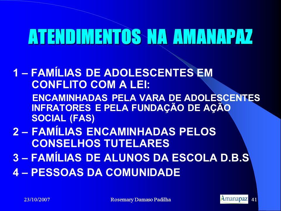 23/10/2007Rosemary Damaso Padilha41 ATENDIMENTOS NA AMANAPAZ 1 – FAMÍLIAS DE ADOLESCENTES EM CONFLITO COM A LEI: ENCAMINHADAS PELA VARA DE ADOLESCENTE