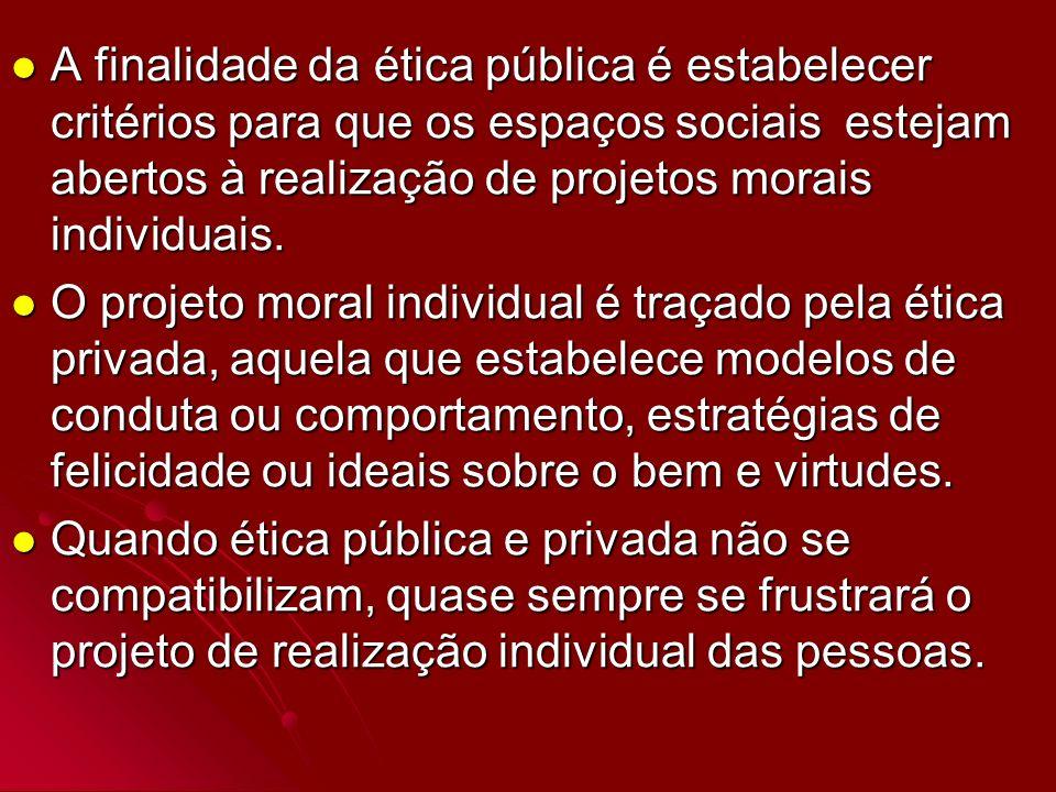 A finalidade da ética pública é estabelecer critérios para que os espaços sociais estejam abertos à realização de projetos morais individuais. A final