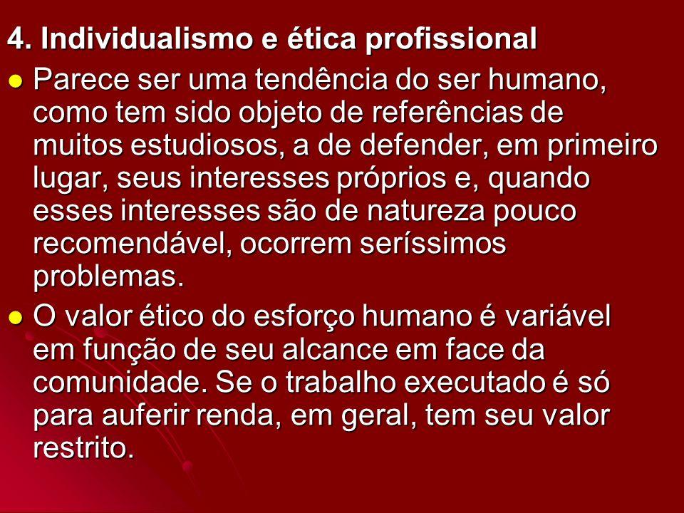 4. Individualismo e ética profissional Parece ser uma tendência do ser humano, como tem sido objeto de referências de muitos estudiosos, a de defender