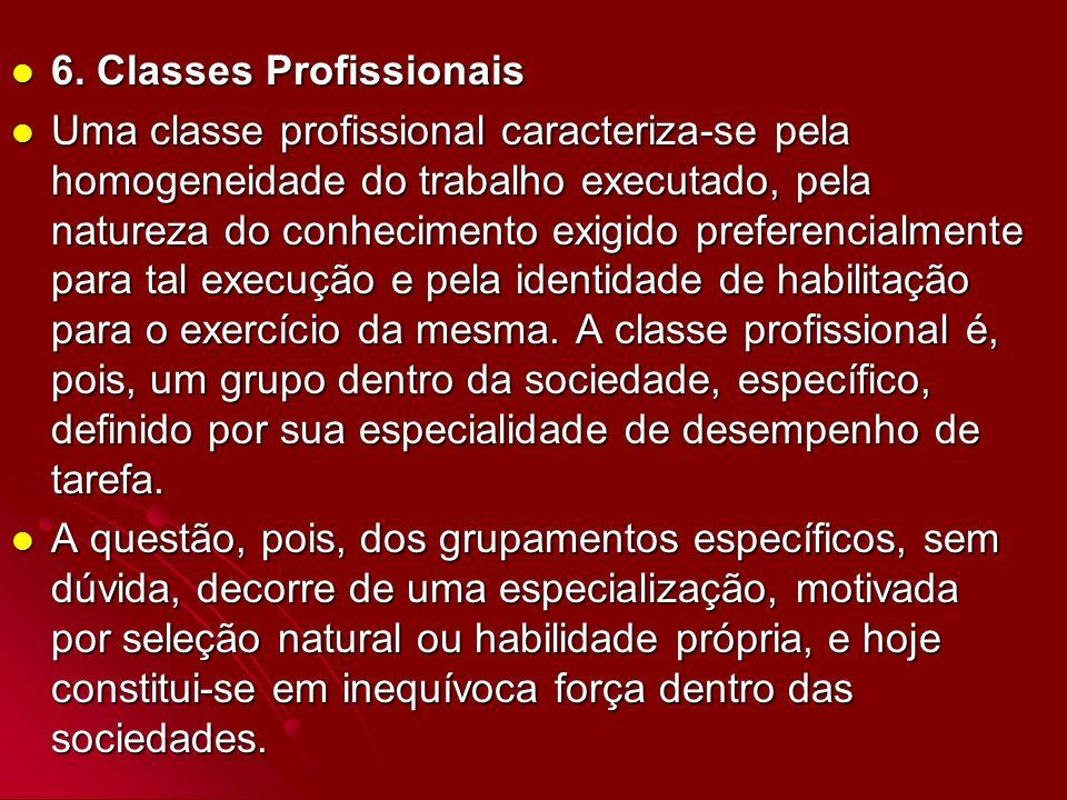 6. Classes Profissionais 6. Classes Profissionais Uma classe profissional caracteriza-se pela homogeneidade do trabalho executado, pela natureza do co