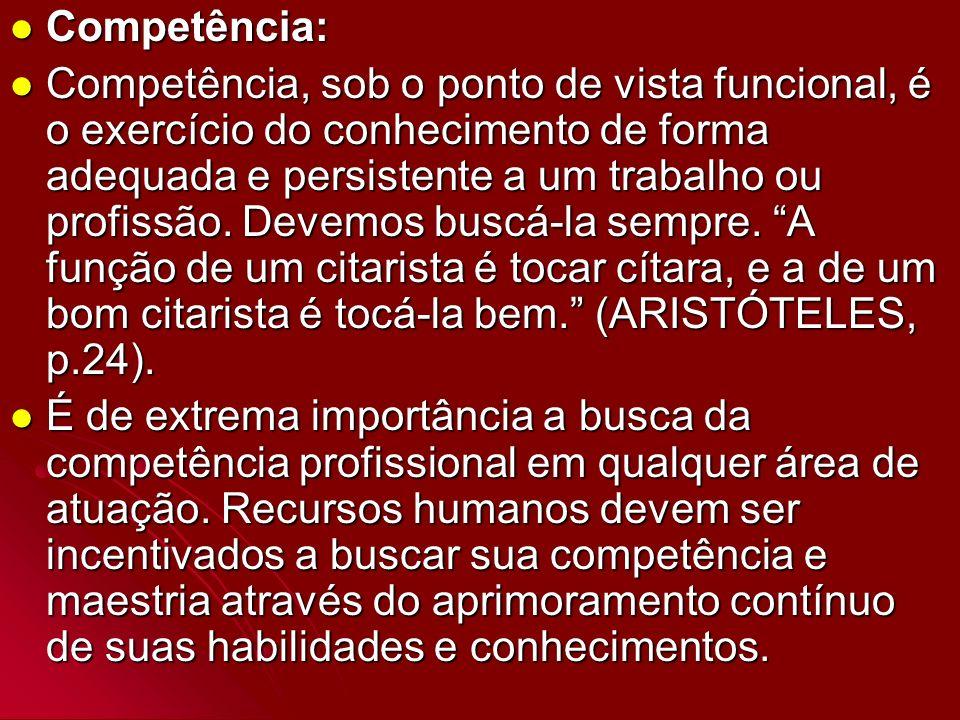 Competência: Competência: Competência, sob o ponto de vista funcional, é o exercício do conhecimento de forma adequada e persistente a um trabalho ou