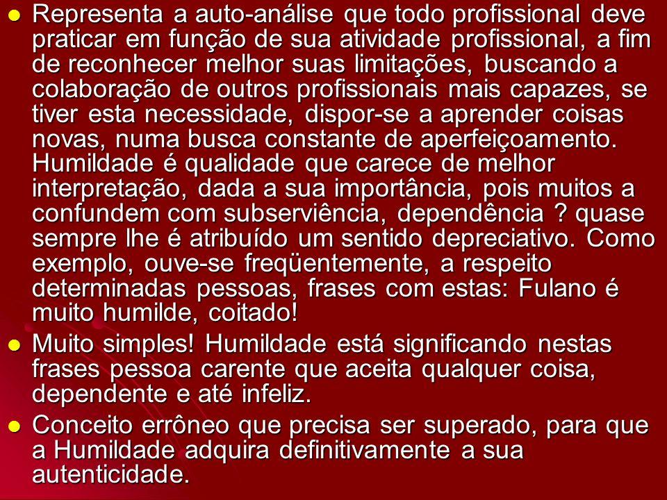 Representa a auto-análise que todo profissional deve praticar em função de sua atividade profissional, a fim de reconhecer melhor suas limitações, bus