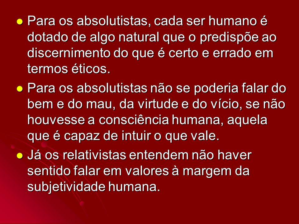Para os absolutistas, cada ser humano é dotado de algo natural que o predispõe ao discernimento do que é certo e errado em termos éticos. Para os abso